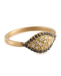 Jamie Wolf | Metallic Scallop Marquise Ring with Black and Cognac Diamonds Size 7 | Lyst