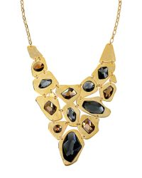 Robert Lee Morris - Metallic Geometric Faceted Stone Bib Frontal Necklace - Lyst