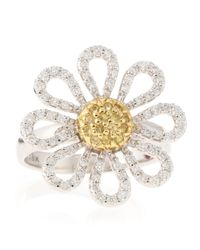 Roberto Coin - Metallic Diamond and Sapphire Daisy Ring Size 65 - Lyst
