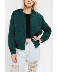 Urban Outfitters | Green Cameo Some Nights Quilted Bomber Jacket | Lyst