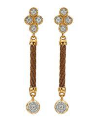 Charriol - Metallic Diamond Cluster Bronzecable Drop Earrings - Lyst