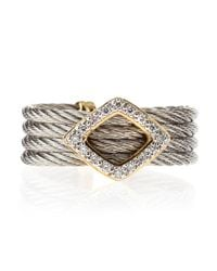 Charriol - Gray Diamond Rhombus Cable Ring - Lyst