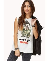 Forever 21 | White What Up Dawg Muscle Tee | Lyst