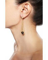 Monique Péan - Metallic Brown Fossilized Dinosaur Bone and White Diamond Open Cage Earrings - Lyst