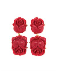 Oscar de la Renta | Multicolor Flower Earrings: Burgundy | Lyst