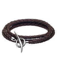 Shaun Leane | Brown Woven Leather Tusk Bracelet Black/silver for Men | Lyst