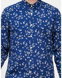 Topman - Long Sleeve Blue Mini Rose for Men - Lyst