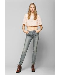 Urban Outfitters | Pink Pins and Needles Lace Flutter Cropped Tee | Lyst