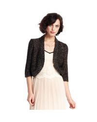 Maison Jules - Black Threequarter Metallic Shrug - Lyst