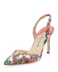 Manolo Blahnik | Carolyne Floralprint Highheel Halter Pump Multicolor | Lyst