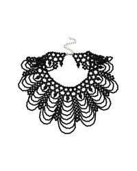 TOPSHOP - Black Bead High Neck Drape - Lyst