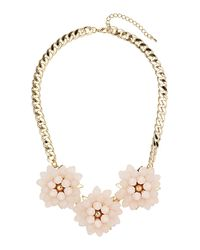 TOPSHOP | Metallic Triple Bead Flower Necklace | Lyst