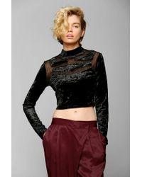 Urban Outfitters - Black Sparkle Fade Geo Velvet Mockneck Cropped Top - Lyst