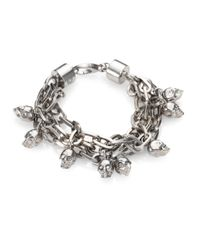 Alexander McQueen | Metallic Skull Charm Multi-Row Chain Bracelet/Silvertone | Lyst