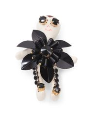Marni | Black Rhinestonedetailed Doll Brooch | Lyst
