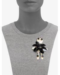 Marni - Black Rhinestonedetailed Doll Brooch - Lyst