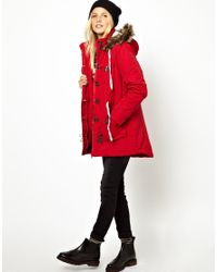 Fred Perry - Red Bellfield Parka Jacket with Faux Fur Trim Hood - Lyst