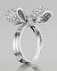Mimi So | Metallic Bow Small 18k White Gold Diamond Ring | Lyst