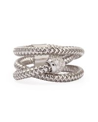 Roberto Coin | Primavera 18k White Gold Ghsi Diamond Triplerow Ring | Lyst