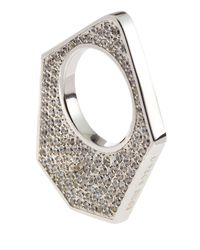 Eddie Borgo - Metallic Twotone Pave Medium Flat Triangle Ring Silver Size 7 - Lyst
