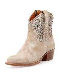 Frye | White Deborah Studded Short Boot | Lyst