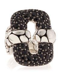 John Hardy | Kali Silver Lava Rectangular Black Sapphire Pave Ring S | Lyst