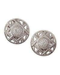 Judith Ripka | Metallic Basket-Weave Pave Circle Earrings | Lyst