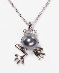 Nadri - Gray Pave Frog Pendant Necklace 16 - Lyst