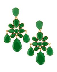 Oscar de la Renta | Green Faceted Chandelier Clipon Earrings | Lyst