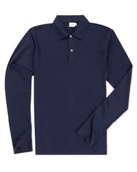 Sunspel   Blue Men's Long-staple Cotton Long Sleeve Jersey Polo Shirt for Men   Lyst