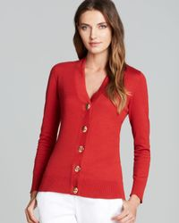 Tory Burch - Red Simone Cotton Cardigan - Lyst