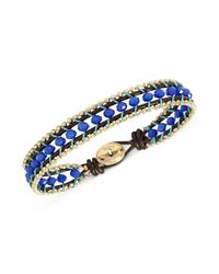 Fossil - Blue Gold-Tone and Leather Cord Woven Bead Bracelet - Lyst