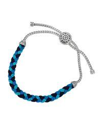John Hardy | Classic Chain Silverknot Blue Cord Bracelet for Men | Lyst