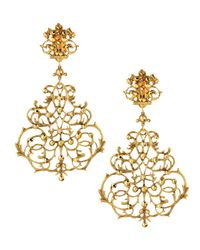 Jose & Maria Barrera | Metallic Scroll Chandelier Clip Earrings | Lyst