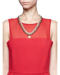 Valentino - Metallic Pearls Studs Necklace - Lyst