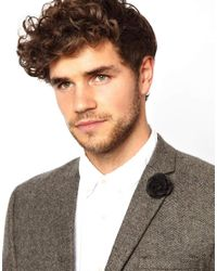 ASOS - Black River Island Flower Lapel Pin for Men - Lyst