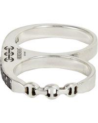 Hoorsenbuhs - Metallic Black Diamond Double Knuckle Ring - Lyst