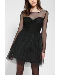 Urban Outfitters | Black Pins and Needles Meshtop Tulle Dress | Lyst