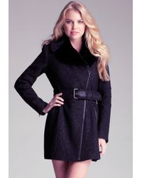 Bebe - Black Metallic Faux Fur Coat - Lyst