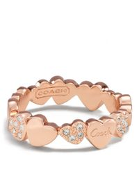 COACH | Metallic Multi Hearts Band Ring | Lyst