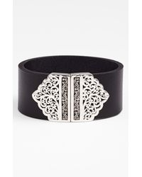 Lois Hill | Black Leather Sterling Silver Bracelet | Lyst