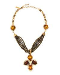 Oscar de la Renta - Metallic Smoky Topaz Multibead  Chain Necklace - Lyst