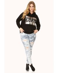Forever 21 | Black Plus Size Bold Metallic Iconic Hoodie You've Been Added To The Waitlist | Lyst