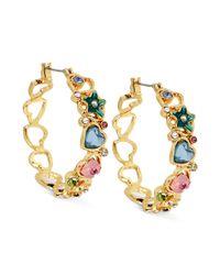 Betsey Johnson - Metallic Antique Goldtone Multiheart Hoop Earrings - Lyst