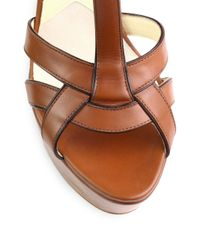 Brian Atwood - Brown Sema Leather Wedge Sandals - Lyst