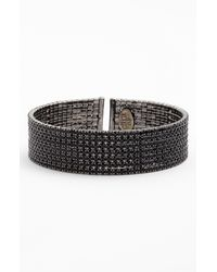 Cara | Black Medium Crystal Cuff | Lyst