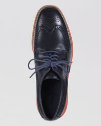 Cole Haan - Blue Lunargrand Leather Wingtip Oxfords for Men - Lyst