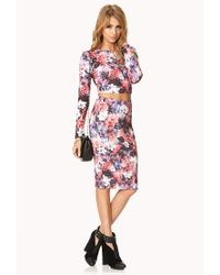 Forever 21 - Pink Watercolor Floral Crop Top - Lyst