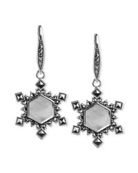 Judith Jack - Metallic Sterling Silver Mother Of Pearl Snowflake Earrings  - Lyst