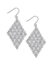 Lauren by Ralph Lauren - Metallic Silvertone Crystal Diamond Drop Earrings - Lyst